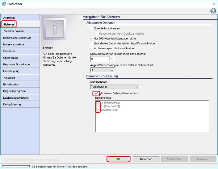 Sichern / Zurückschreiben von Daten mit dem TSM Windows Client
