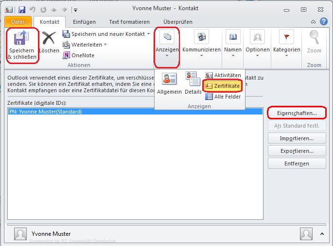 Signieren und Verschlüsseln mit Outlook 2010 - Rechenzentrum ...