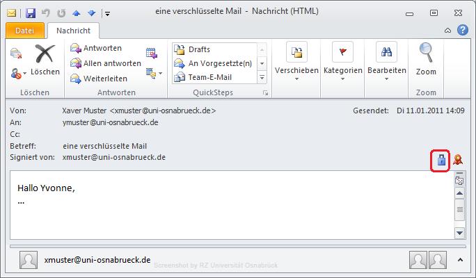 Signieren Und Verschlüsseln Mit Outlook 2010 Rechenzentrum
