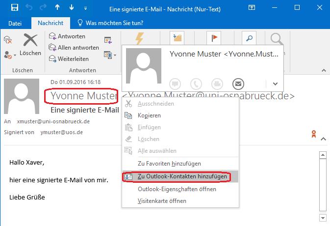 E-Mail-Adresse einhaken