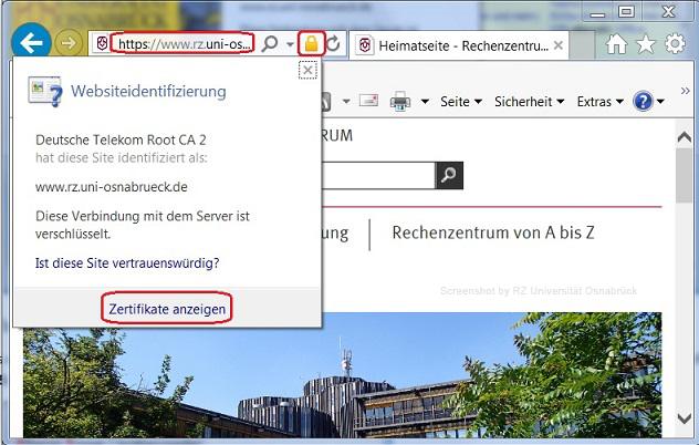 Überprüfung eines Zertifikats - Rechenzentrum Universität Osnabrück